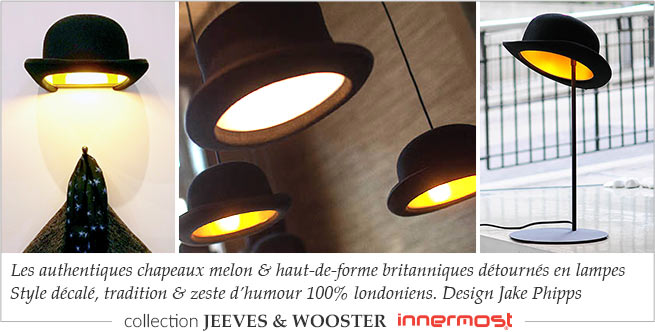 Collection de lampes chapeau Jeeves and Wooster  De la marque anglaise Innermost