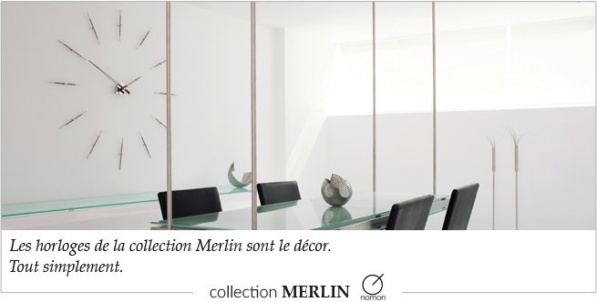 Collection d'horloges murales design Merlin de la marque Nomon